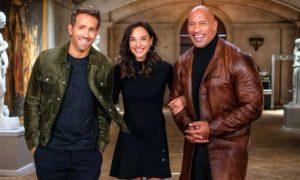 Ryan Reynolds, gal Gadot e Dwayne Johnson na promoção da Netflix